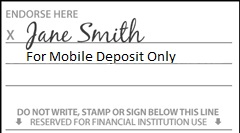"sample check with ""For Mobile Deposit Only"" written below signature"